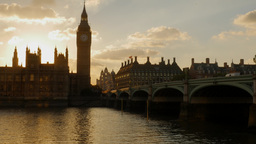 Beautiful static shot of the sun setting behind the Houses of Parliament in Lond Footage