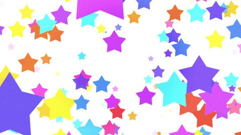 Cartoon Colored Big Stars On White Background Animation