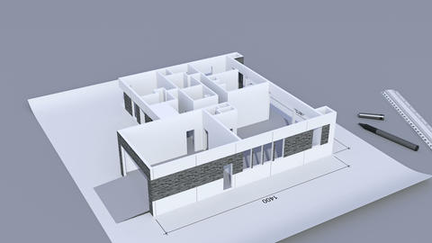 Building a house with a flat roof. Time-lapse 3d animation of house construction Animation