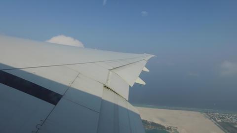 wing of airplane gathering speed on runway Footage