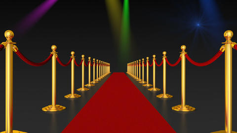 Red carpet and pillars with red ropes Animation