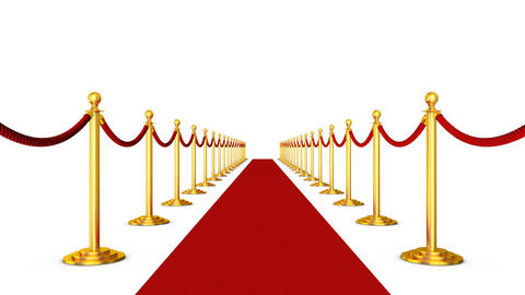 Red carpet and pillars with red ropes2 Stock Video Footage