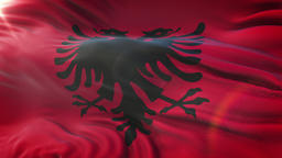 Flag of Albania waving on sun. Seamless loop with highly detailed fabric Animation