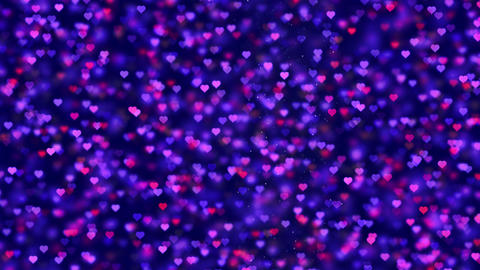Blue and red moving Romantic Spinning Dangling Glowing Love Hearts colored Animation