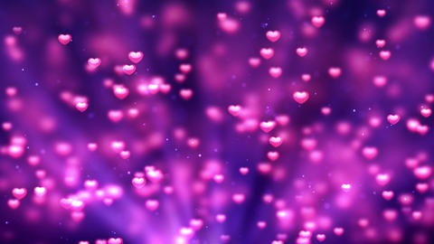 Purple Romantic Spinning Dangling Glowing Love Hearts colored Particles Animation