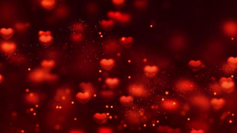 Red heart with small Romantic Spinning Dangling Glowing Love Hearts colored Animation
