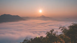 Sunrise and morning Mist at Phu Tok, Loei Thailand. (Time Lapse) Footage