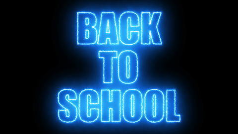 Burning Back to school text on black, 3d render background, computer generating フォト