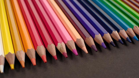 Colored pencils. Close up trucking shot. 4K resolution Live Action