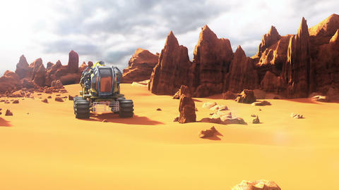 Mars Rover on the Mars. A futuristic concept of a colonization of Red Planet Animation