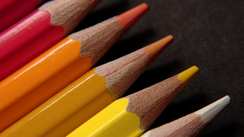 Colored pencils. Close up trucking shot Live Action