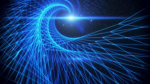 3D Blue Wireframe Spiral Grid in Outer Space Loopable Background Animation