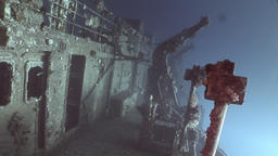 Wreck Salem Expresson on seabed underwater in Egypt Footage