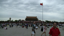 Many people in the evening on street city of Tiananmen Square Footage