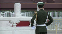 Military man on street of city of Tiananmen Square Footage