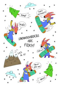 Snowboarder Fox Stickerlist ベクター