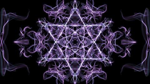 Live purple hexagonal fractal mandala, video tunnel on black background Animation