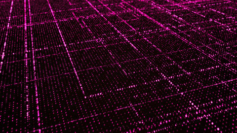 Grid of red glowing particles CG動画素材