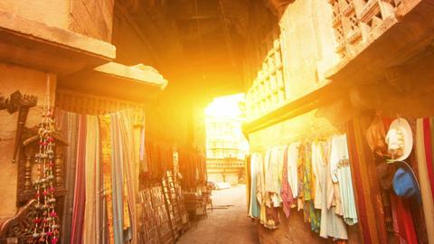 Jaisalmer fort shopping street Footage