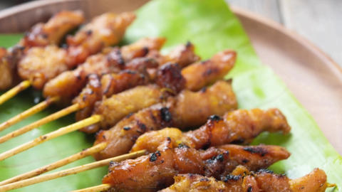 Asian delicious chicken sate Footage