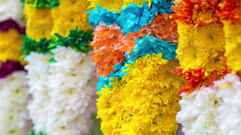 Indian colorful flower garlands Live Action