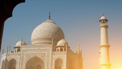 Taj Mahal archway view Footage
