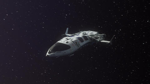 Futuristic Spaceship Flying in Space Animation