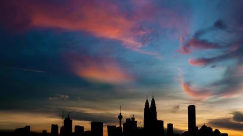 Silhouette Kuala Lumpur city skyline Footage