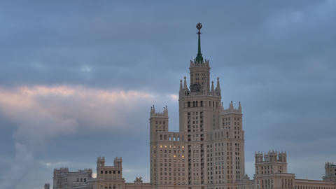 Russia Moscow City View on Building of Stalin's Era Live Action