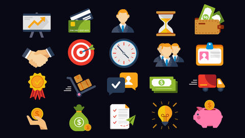 20 Animated Business and Finance Icons After Effects Template