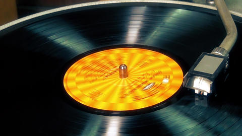 Vinyl record player, spinning Footage