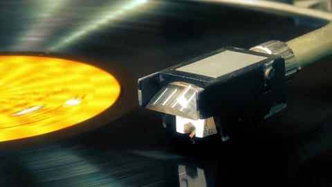 A Retro-Styled Spinning Record Vinyl Player Vinyl Footage