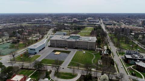 Kansas City, Missouri - April 12,2018, Ungraded aerial of Nelson Atkins Museum Footage