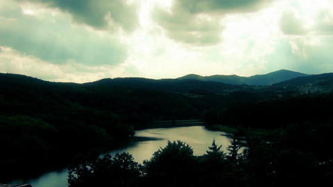 Serbian Lake,sun rays through the clouds and beautiful landscape Footage