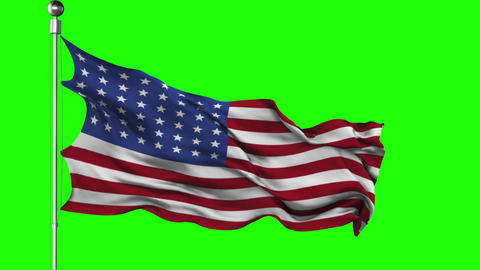 Waving American flag on a green screen 6 different angles looped Animation