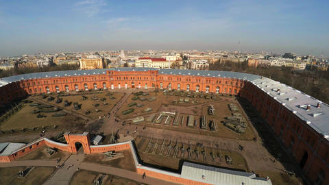 Aerial View. Artillery Museum In St. Petersburg. 4K stock footage