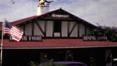 1962: Solvang Danish Food dining hall smorgasbord Footage