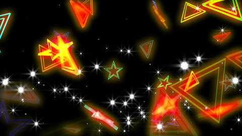Colorful stars and trianglels CG動画素材