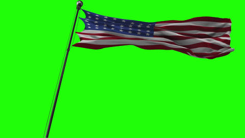 Waving American flag on a green screen looped Animation