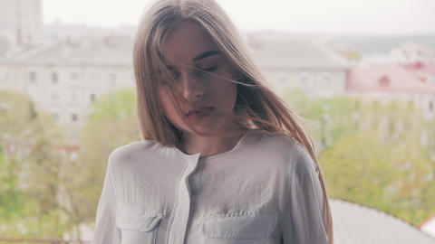 Summer lifestyle fashion portrait of young beautiful... Stock Video Footage
