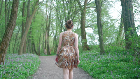 Young beautiful woman walking forest among the trees. Follow the path, fresh air Live Action