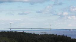 Mackinac Bridge which joins the upper and lower peninsulas of Michigan ビデオ