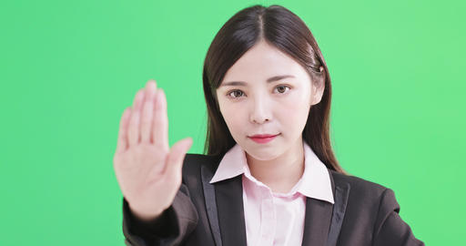 businesswoman show stop gesture Footage
