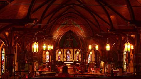 Lunenburg, Nova Scotia- St. John's Anglican Church Interior Stock Video Footage