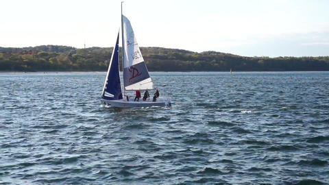 Sailing Boat Opening Sails Footage