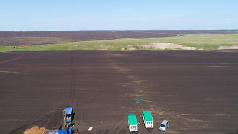 Plowed Field with Geodesic Station Aerial View Footage