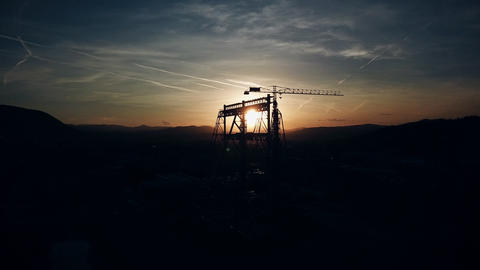 Aerial Drone Shot of Construction Cranes in Sunset Light 영상물
