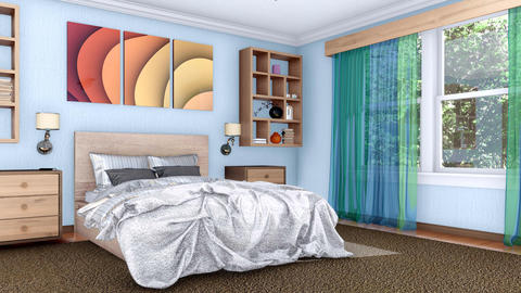 Indoors bedroom interior design 3D animation Footage