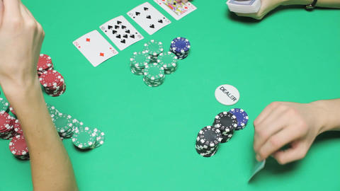 Fast game of Texas poker, the winning player Footage