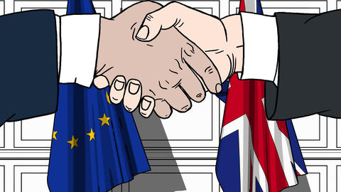 Businessmen or politicians shaking hands against flags of EU and Great Britain Live Action